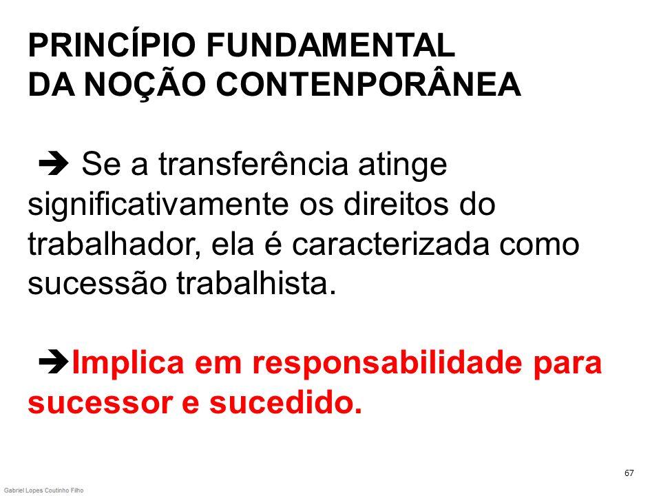PRINCÍPIO FUNDAMENTAL DA NOÇÃO CONTENPORÂNEA Se a transferência atinge significativamente os direitos do trabalhador, ela é caracterizada como sucessã
