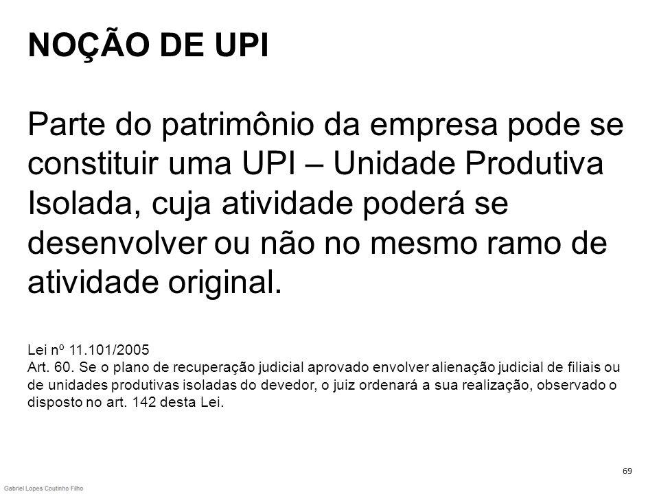 NOÇÃO DE UPI Parte do patrimônio da empresa pode se constituir uma UPI – Unidade Produtiva Isolada, cuja atividade poderá se desenvolver ou não no mes