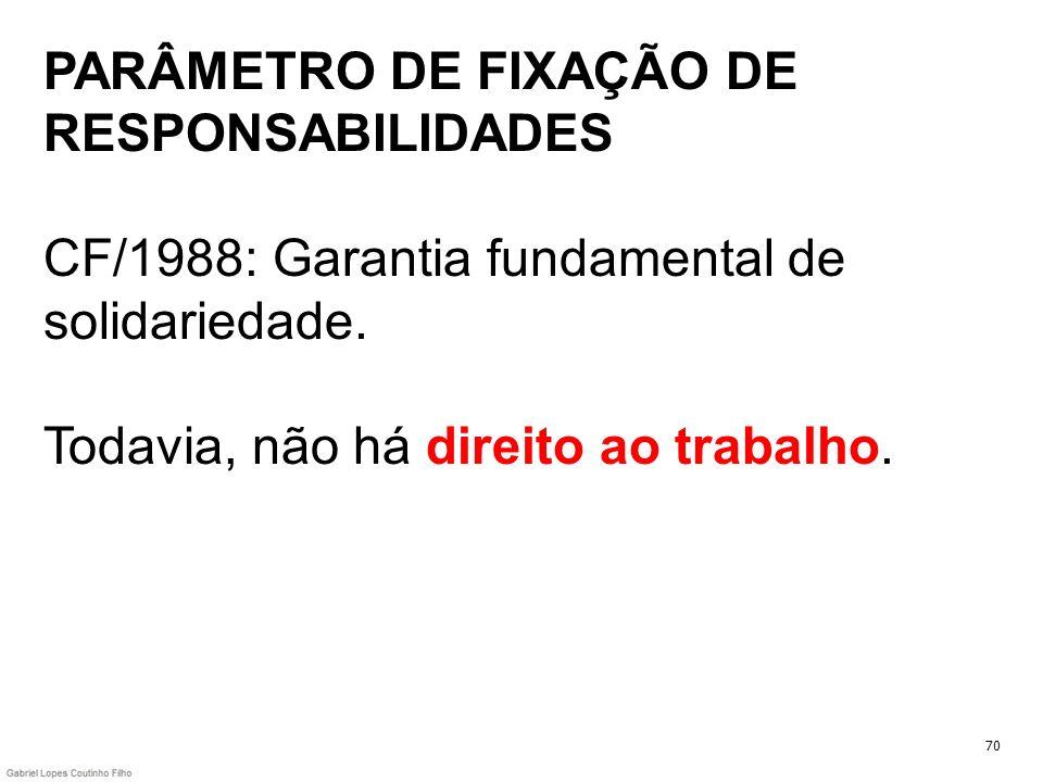 PARÂMETRO DE FIXAÇÃO DE RESPONSABILIDADES CF/1988: Garantia fundamental de solidariedade. Todavia, não há direito ao trabalho. 70