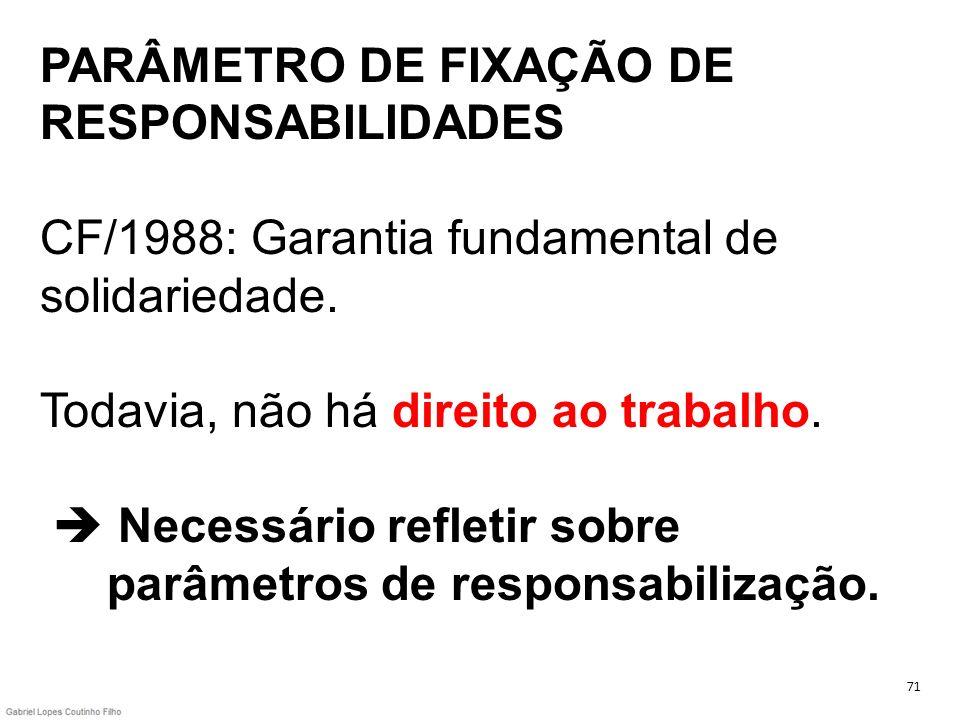 PARÂMETRO DE FIXAÇÃO DE RESPONSABILIDADES CF/1988: Garantia fundamental de solidariedade. Todavia, não há direito ao trabalho. Necessário refletir sob