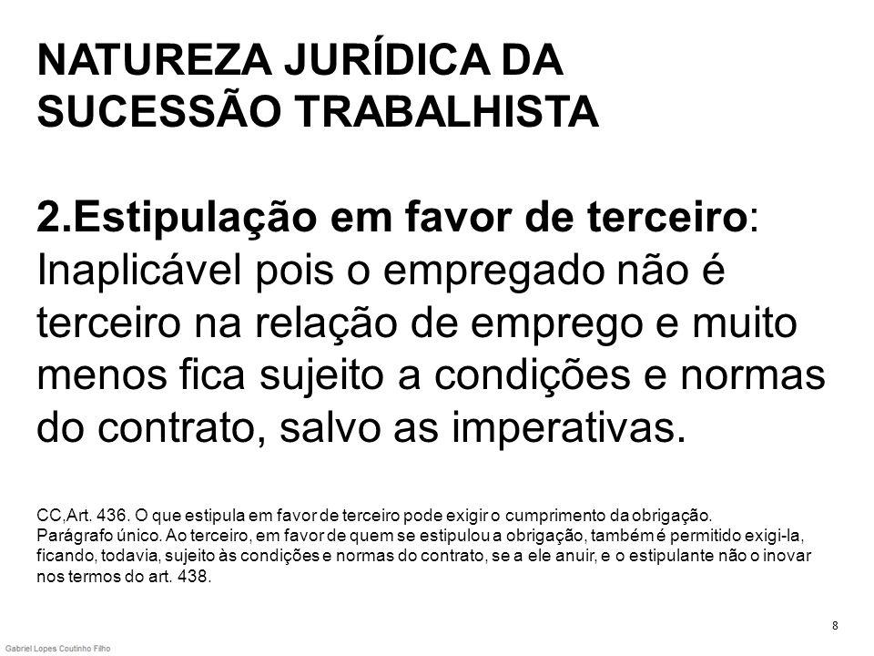 NATUREZA JURÍDICA DA SUCESSÃO TRABALHISTA 2.Estipulação em favor de terceiro: Inaplicável pois o empregado não é terceiro na relação de emprego e muit