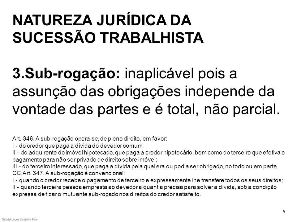 NATUREZA JURÍDICA DA SUCESSÃO TRABALHISTA 3.Sub-rogação: inaplicável pois a assunção das obrigações independe da vontade das partes e é total, não par