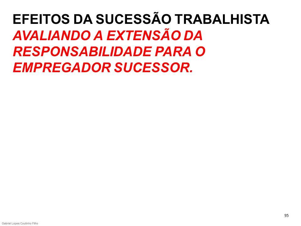 EFEITOS DA SUCESSÃO TRABALHISTA AVALIANDO A EXTENSÃO DA RESPONSABILIDADE PARA O EMPREGADOR SUCESSOR. 95