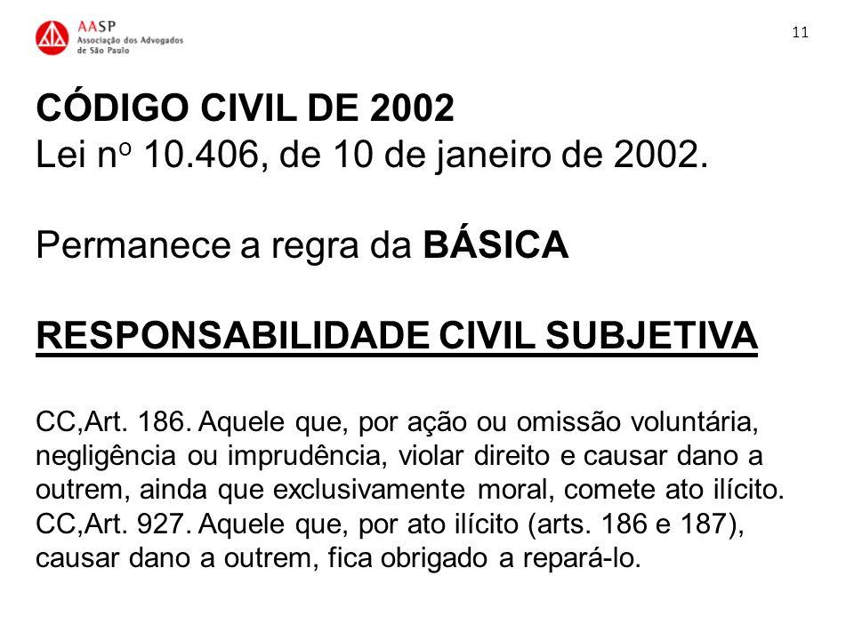 CÓDIGO CIVIL DE 2002 Lei n o 10.406, de 10 de janeiro de 2002. Permanece a regra da BÁSICA RESPONSABILIDADE CIVIL SUBJETIVA CC,Art. 186. Aquele que, p