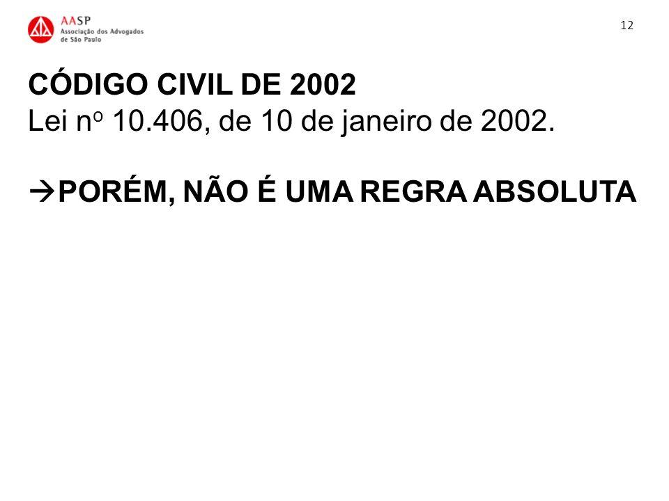 CÓDIGO CIVIL DE 2002 Lei n o 10.406, de 10 de janeiro de 2002. PORÉM, NÃO É UMA REGRA ABSOLUTA 12