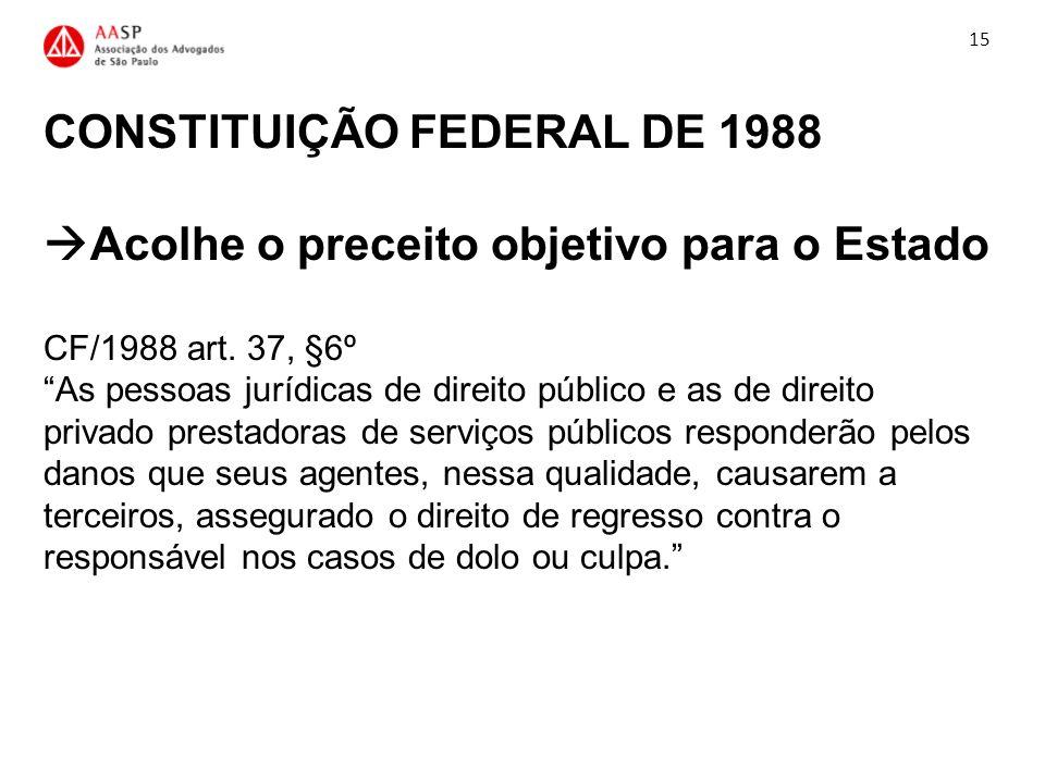 CONSTITUIÇÃO FEDERAL DE 1988 Acolhe o preceito objetivo para o Estado CF/1988 art. 37, §6º As pessoas jurídicas de direito público e as de direito pri