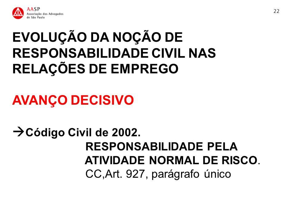 EVOLUÇÃO DA NOÇÃO DE RESPONSABILIDADE CIVIL NAS RELAÇÕES DE EMPREGO AVANÇO DECISIVO Código Civil de 2002. RESPONSABILIDADE PELA ATIVIDADE NORMAL DE RI