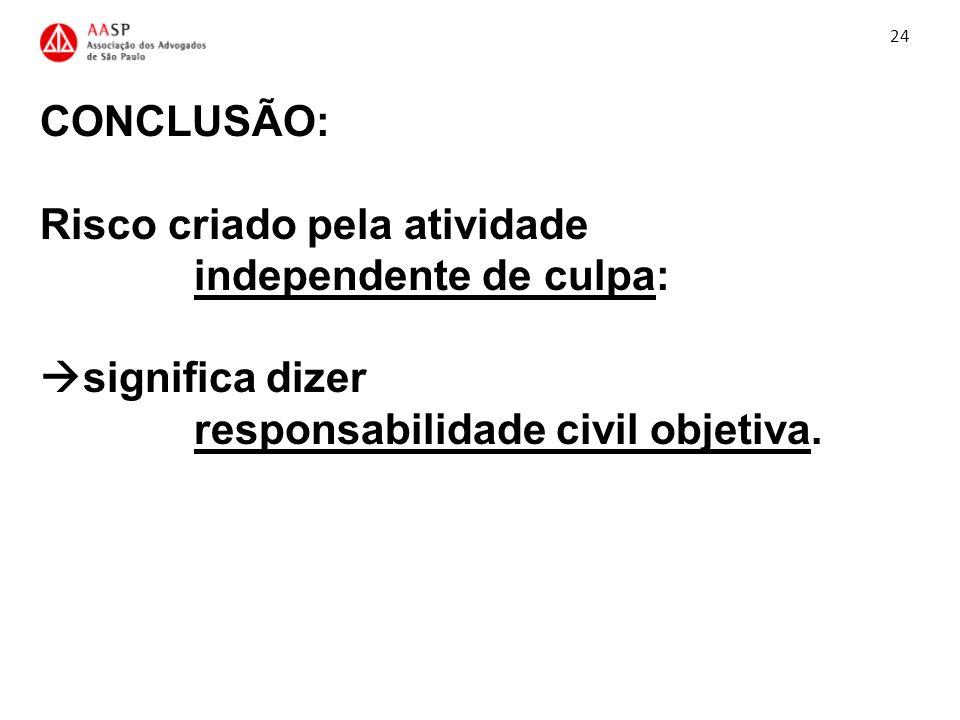 CONCLUSÃO: Risco criado pela atividade independente de culpa: significa dizer responsabilidade civil objetiva. 24