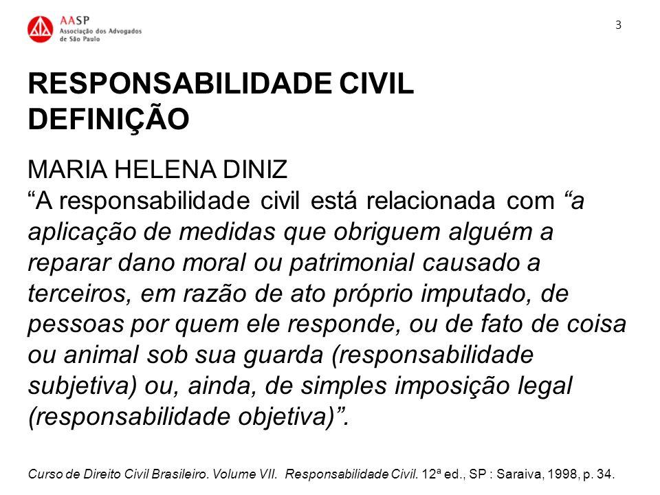 RESPONSABILIDADE CIVIL DEFINIÇÃO MARIA HELENA DINIZ A responsabilidade civil está relacionada com a aplicação de medidas que obriguem alguém a reparar