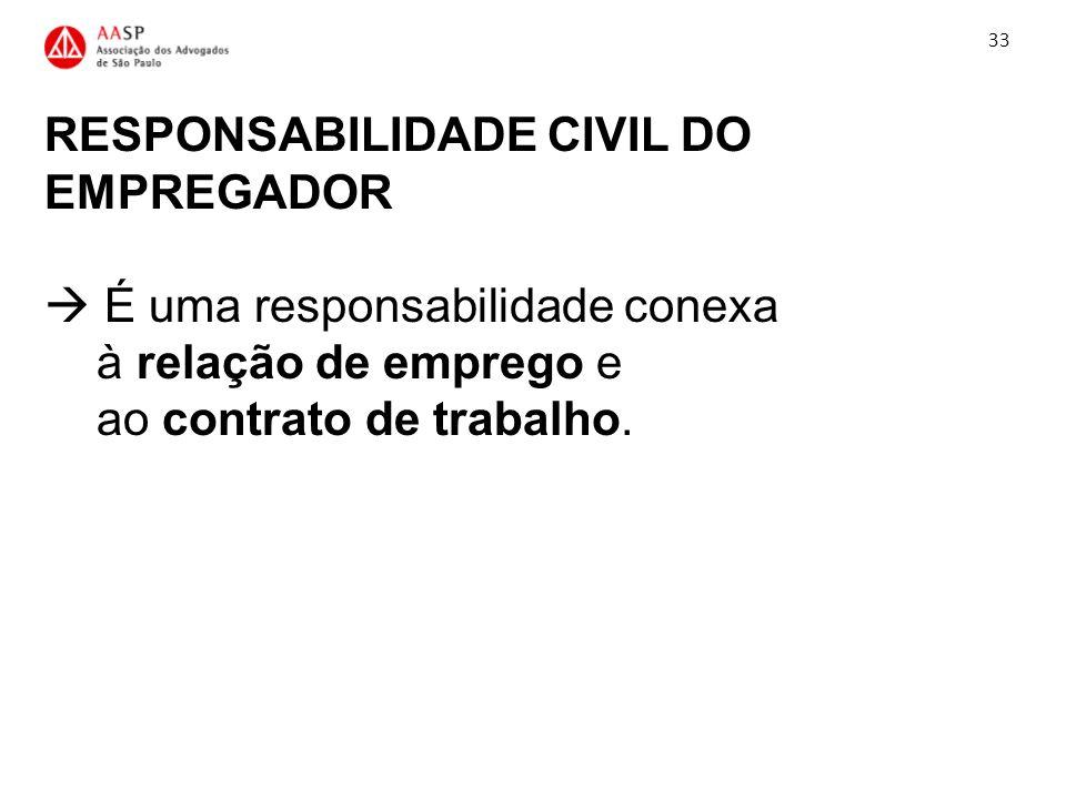 RESPONSABILIDADE CIVIL DO EMPREGADOR É uma responsabilidade conexa à relação de emprego e ao contrato de trabalho. 33