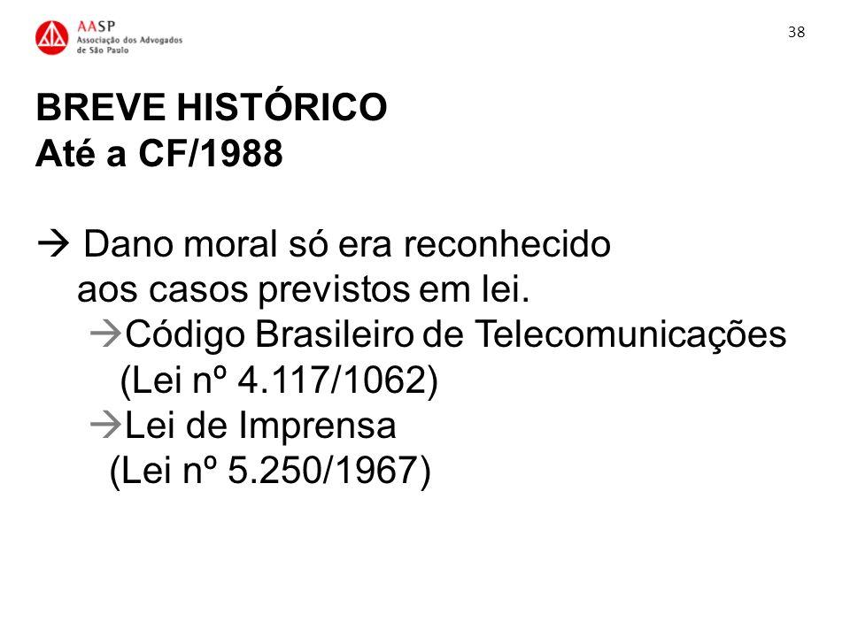 BREVE HISTÓRICO Até a CF/1988 Dano moral só era reconhecido aos casos previstos em lei. Código Brasileiro de Telecomunicações (Lei nº 4.117/1062) Lei