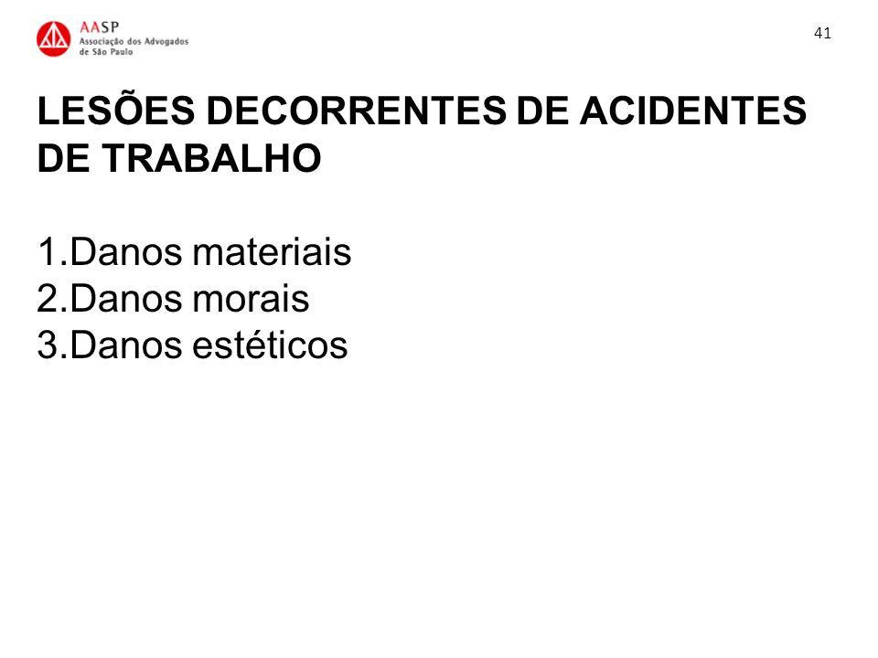 LESÕES DECORRENTES DE ACIDENTES DE TRABALHO 1.Danos materiais 2.Danos morais 3.Danos estéticos 41