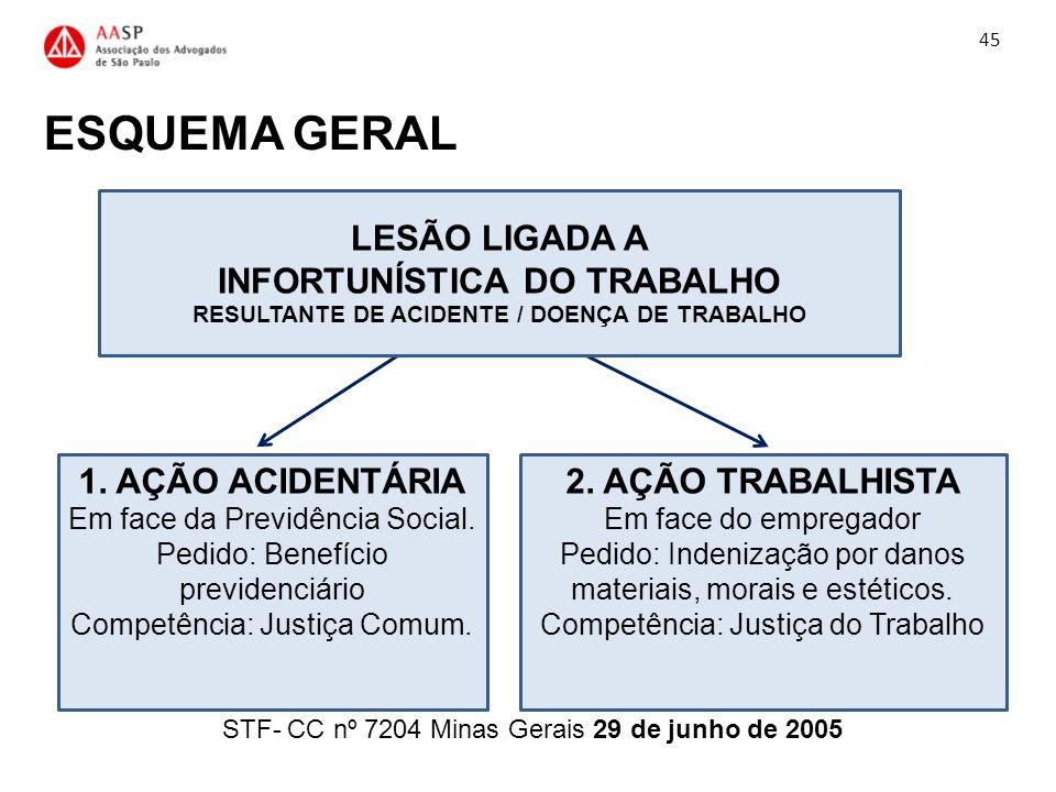 ESQUEMA GERAL STF- CC nº 7204 Minas Gerais 29 de junho de 2005 45 1. AÇÃO ACIDENTÁRIA Em face da Previdência Social. Pedido: Benefício previdenciário