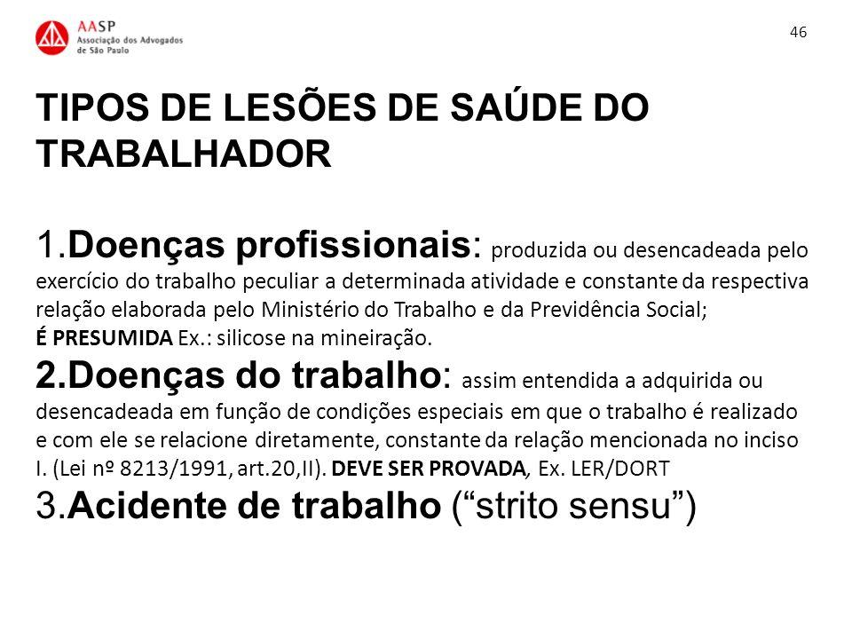 TIPOS DE LESÕES DE SAÚDE DO TRABALHADOR 1.Doenças profissionais: produzida ou desencadeada pelo exercício do trabalho peculiar a determinada atividade