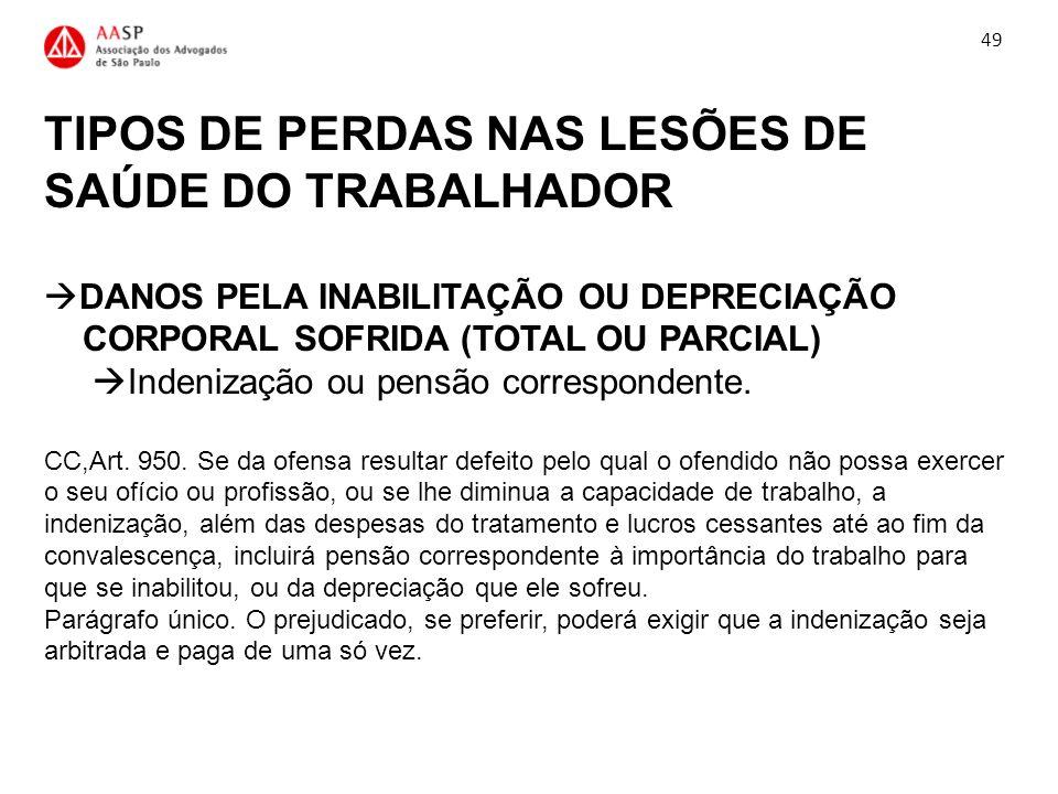 TIPOS DE PERDAS NAS LESÕES DE SAÚDE DO TRABALHADOR DANOS PELA INABILITAÇÃO OU DEPRECIAÇÃO CORPORAL SOFRIDA (TOTAL OU PARCIAL) Indenização ou pensão co