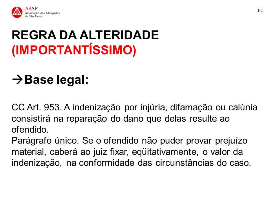 REGRA DA ALTERIDADE (IMPORTANTÍSSIMO) Base legal: CC Art. 953. A indenização por injúria, difamação ou calúnia consistirá na reparação do dano que del