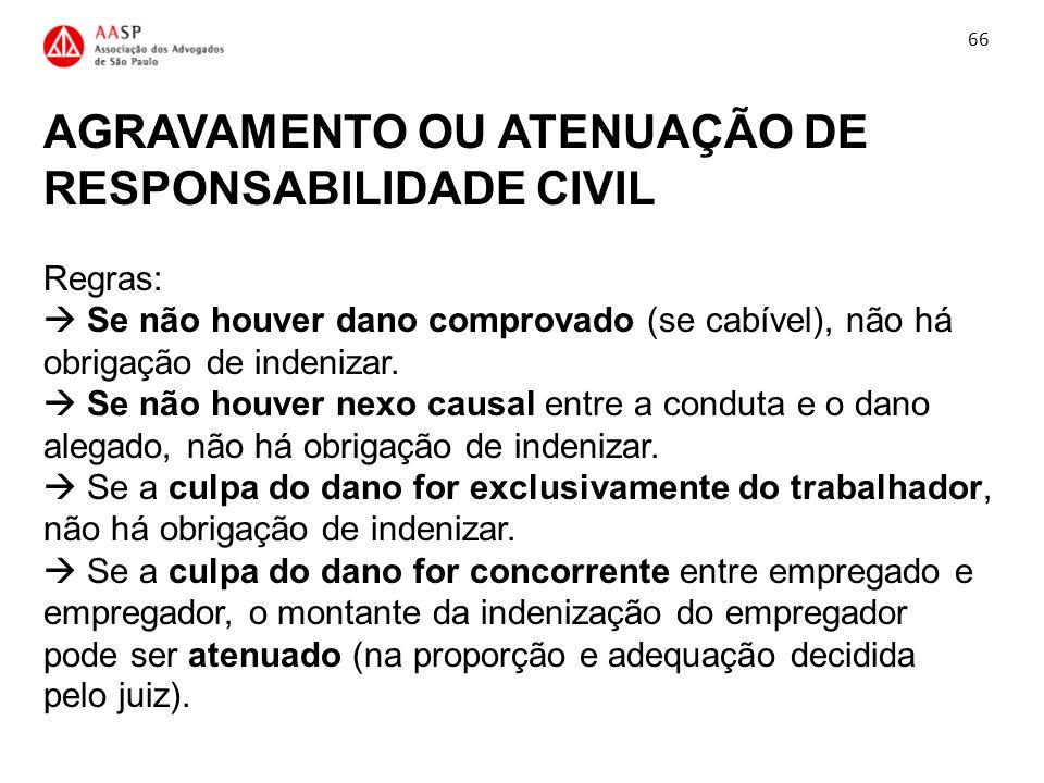 AGRAVAMENTO OU ATENUAÇÃO DE RESPONSABILIDADE CIVIL Regras: Se não houver dano comprovado (se cabível), não há obrigação de indenizar. Se não houver ne