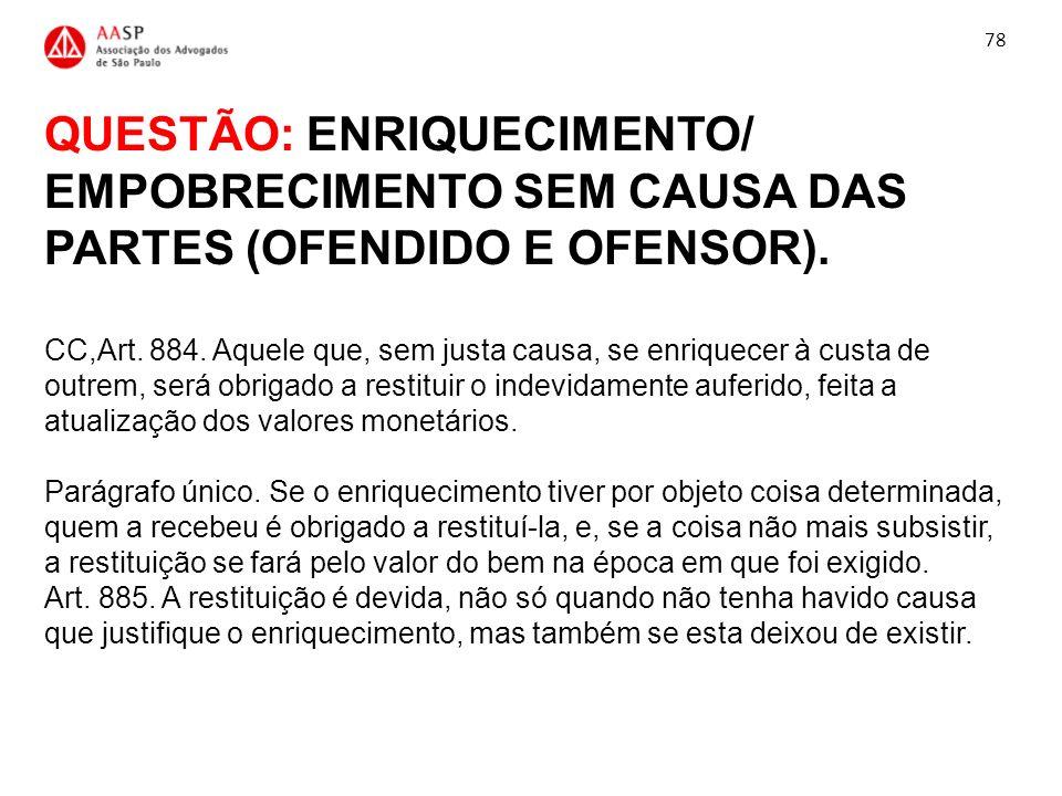 QUESTÃO: ENRIQUECIMENTO/ EMPOBRECIMENTO SEM CAUSA DAS PARTES (OFENDIDO E OFENSOR). CC,Art. 884. Aquele que, sem justa causa, se enriquecer à custa de