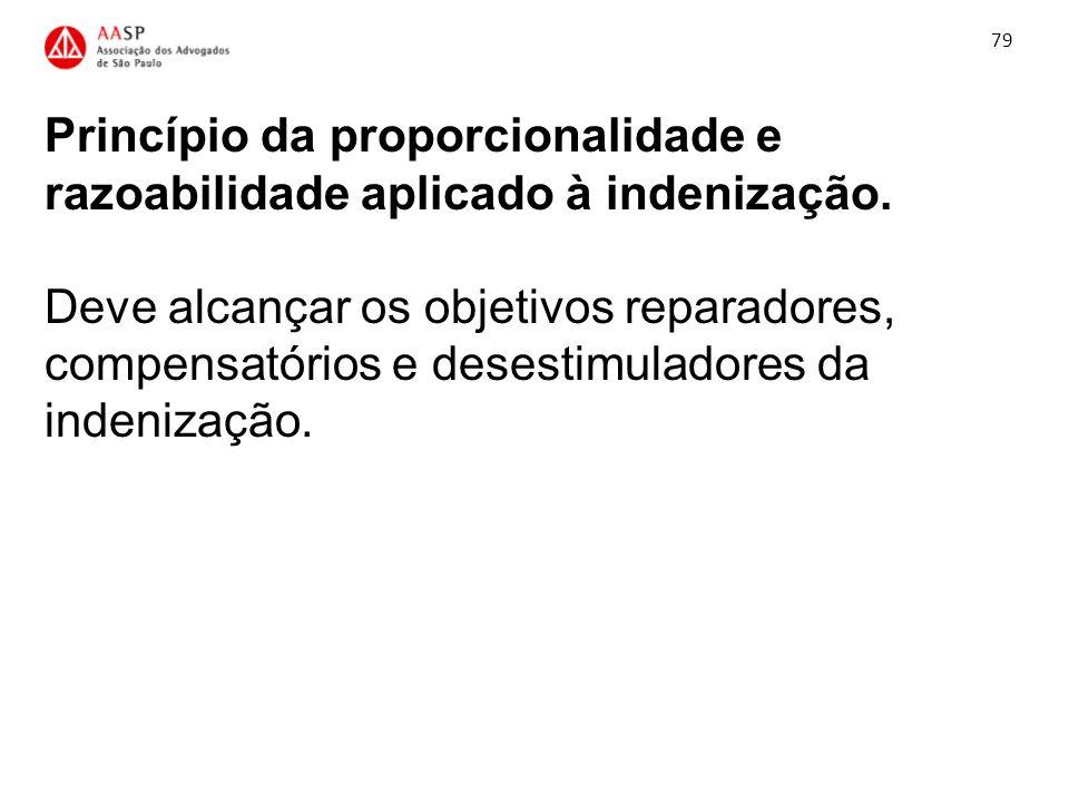 Princípio da proporcionalidade e razoabilidade aplicado à indenização. Deve alcançar os objetivos reparadores, compensatórios e desestimuladores da in