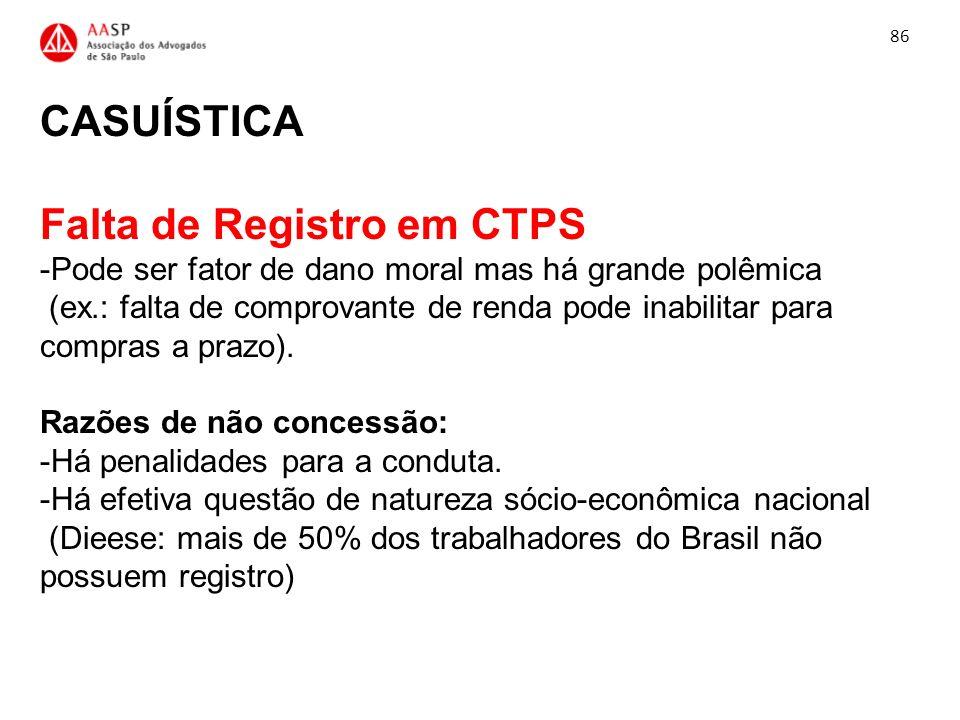 CASUÍSTICA Falta de Registro em CTPS -Pode ser fator de dano moral mas há grande polêmica (ex.: falta de comprovante de renda pode inabilitar para com