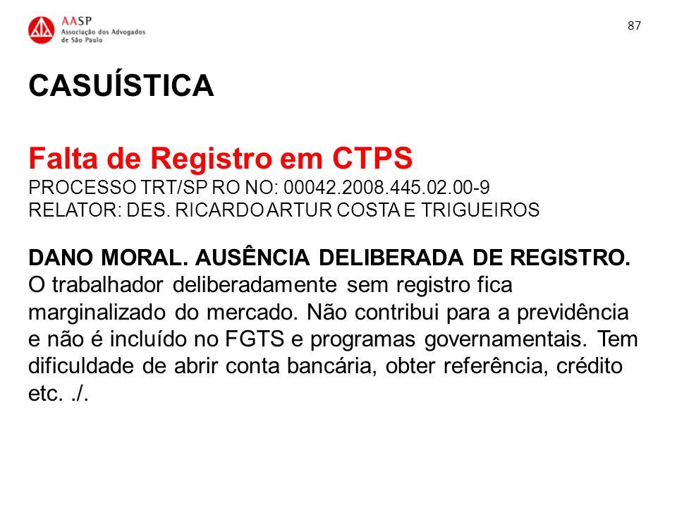 CASUÍSTICA Falta de Registro em CTPS PROCESSO TRT/SP RO NO: 00042.2008.445.02.00-9 RELATOR: DES. RICARDO ARTUR COSTA E TRIGUEIROS DANO MORAL. AUSÊNCIA