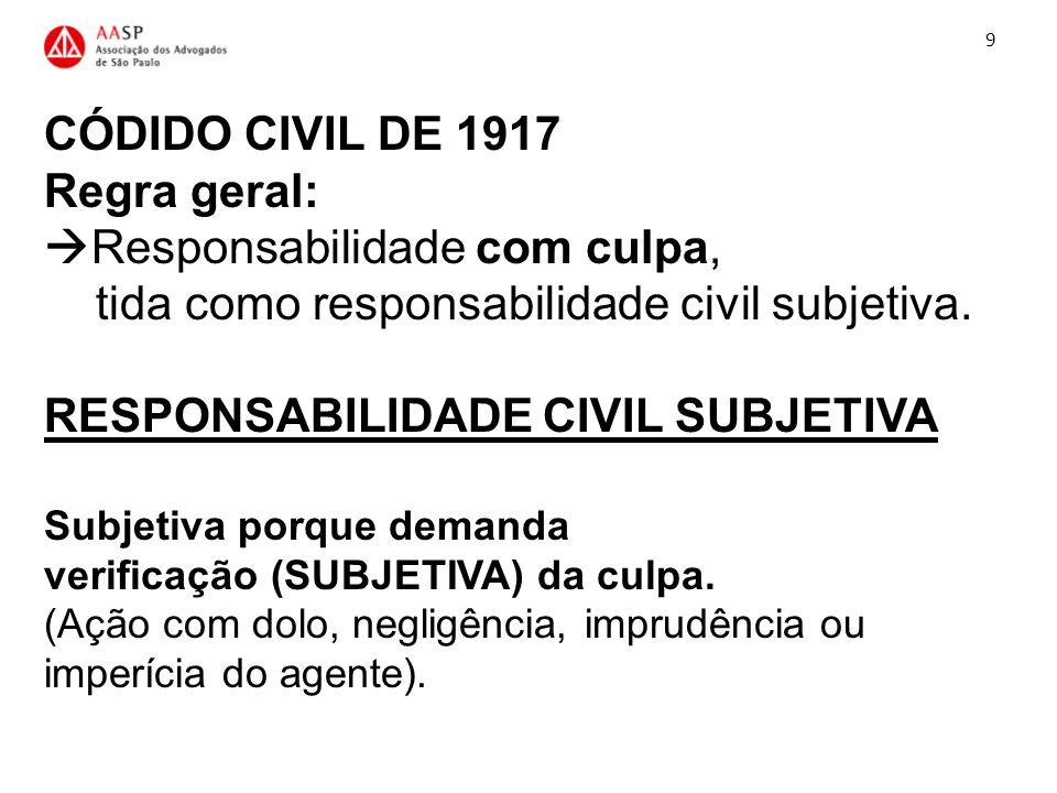 CÓDIDO CIVIL DE 1917 Regra geral: Responsabilidade com culpa, tida como responsabilidade civil subjetiva. RESPONSABILIDADE CIVIL SUBJETIVA Subjetiva p
