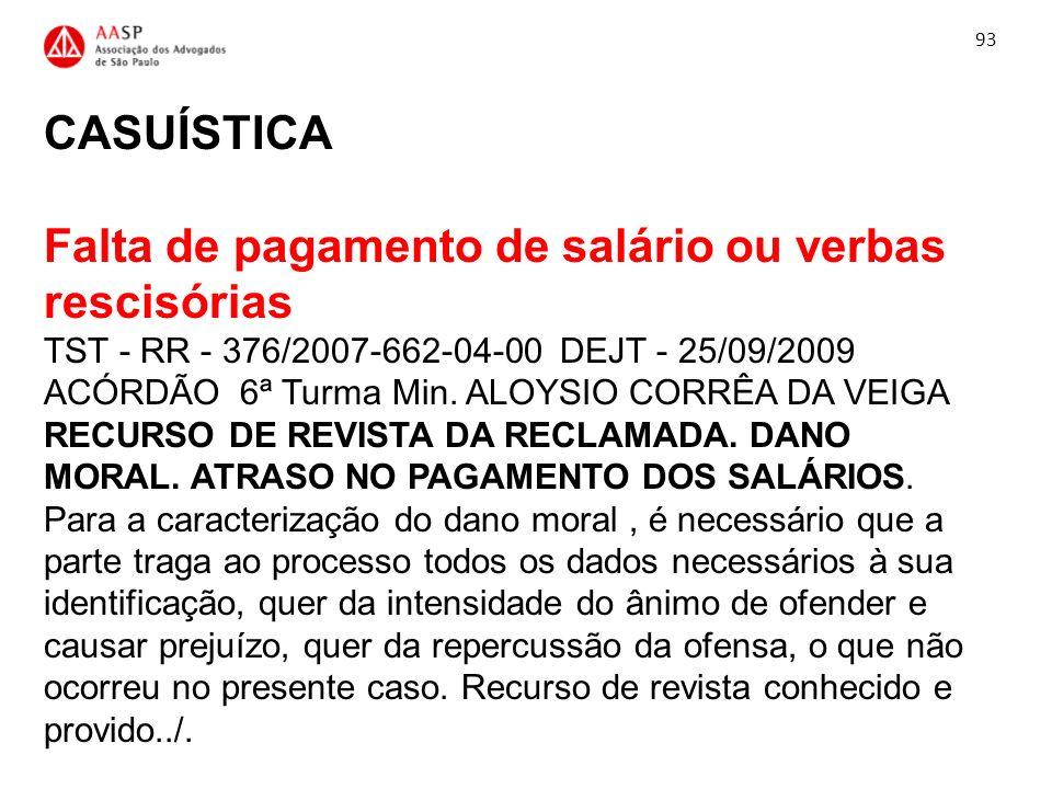 CASUÍSTICA Falta de pagamento de salário ou verbas rescisórias TST - RR - 376/2007-662-04-00 DEJT - 25/09/2009 ACÓRDÃO 6ª Turma Min. ALOYSIO CORRÊA DA