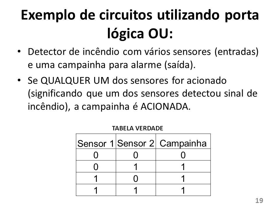 Exemplo de circuitos utilizando porta lógica OU: Detector de incêndio com vários sensores (entradas) e uma campainha para alarme (saída). Se QUALQUER