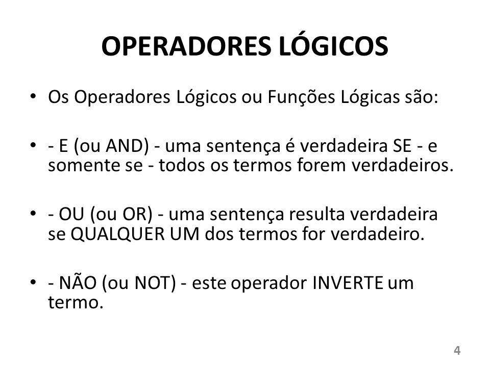 OPERADORES LÓGICOS Os Operadores Lógicos ou Funções Lógicas são: - E (ou AND) - uma sentença é verdadeira SE - e somente se - todos os termos forem ve