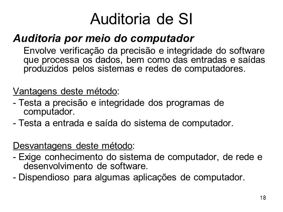 18 Auditoria de SI Auditoria por meio do computador Envolve verificação da precisão e integridade do software que processa os dados, bem como das entr