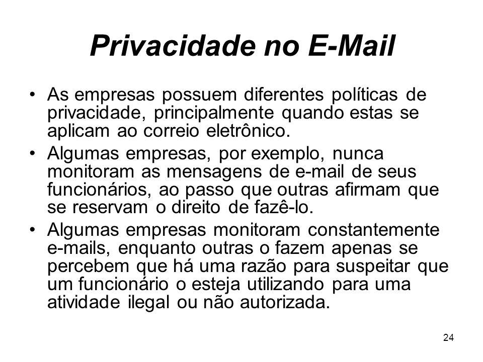 24 Privacidade no E-Mail As empresas possuem diferentes políticas de privacidade, principalmente quando estas se aplicam ao correio eletrônico. Alguma