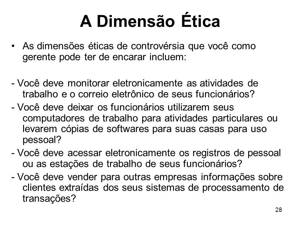 28 A Dimensão Ética As dimensões éticas de controvérsia que você como gerente pode ter de encarar incluem: - Você deve monitorar eletronicamente as at