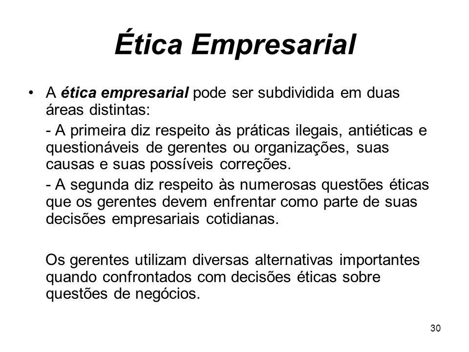 30 Ética Empresarial A ética empresarial pode ser subdividida em duas áreas distintas: - A primeira diz respeito às práticas ilegais, antiéticas e que