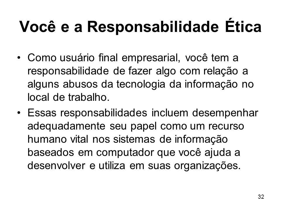 32 Você e a Responsabilidade Ética Como usuário final empresarial, você tem a responsabilidade de fazer algo com relação a alguns abusos da tecnologia