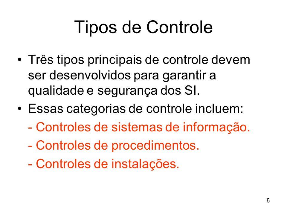 5 Tipos de Controle Três tipos principais de controle devem ser desenvolvidos para garantir a qualidade e segurança dos SI. Essas categorias de contro