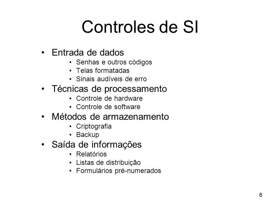6 Controles de SI Entrada de dados Senhas e outros códigos Telas formatadas Sinais audíveis de erro Técnicas de processamento Controle de hardware Con
