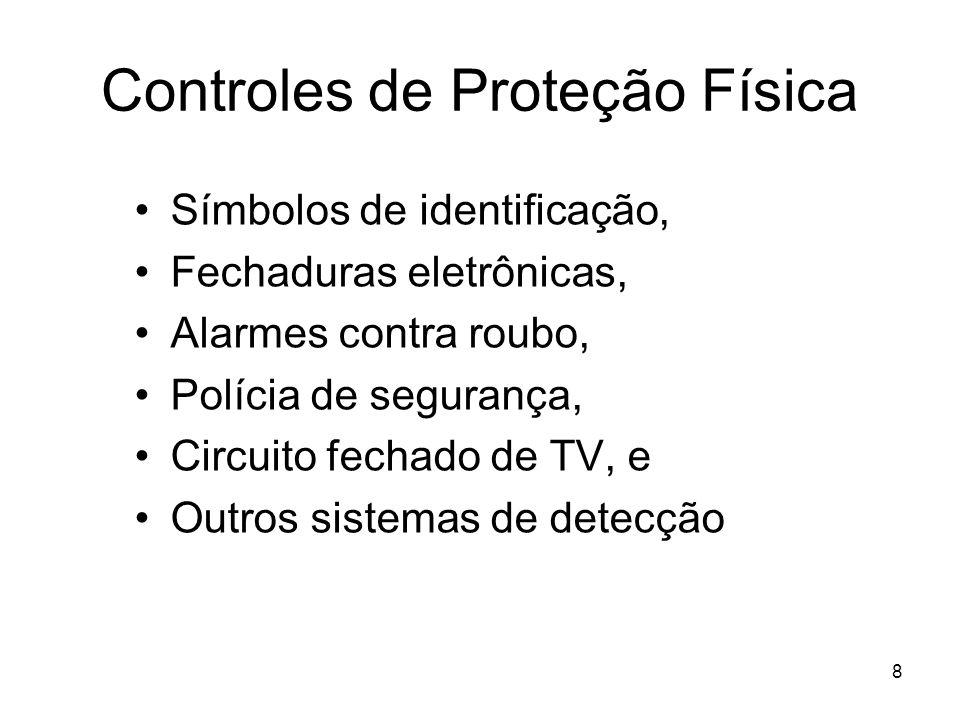 8 Controles de Proteção Física Símbolos de identificação, Fechaduras eletrônicas, Alarmes contra roubo, Polícia de segurança, Circuito fechado de TV,