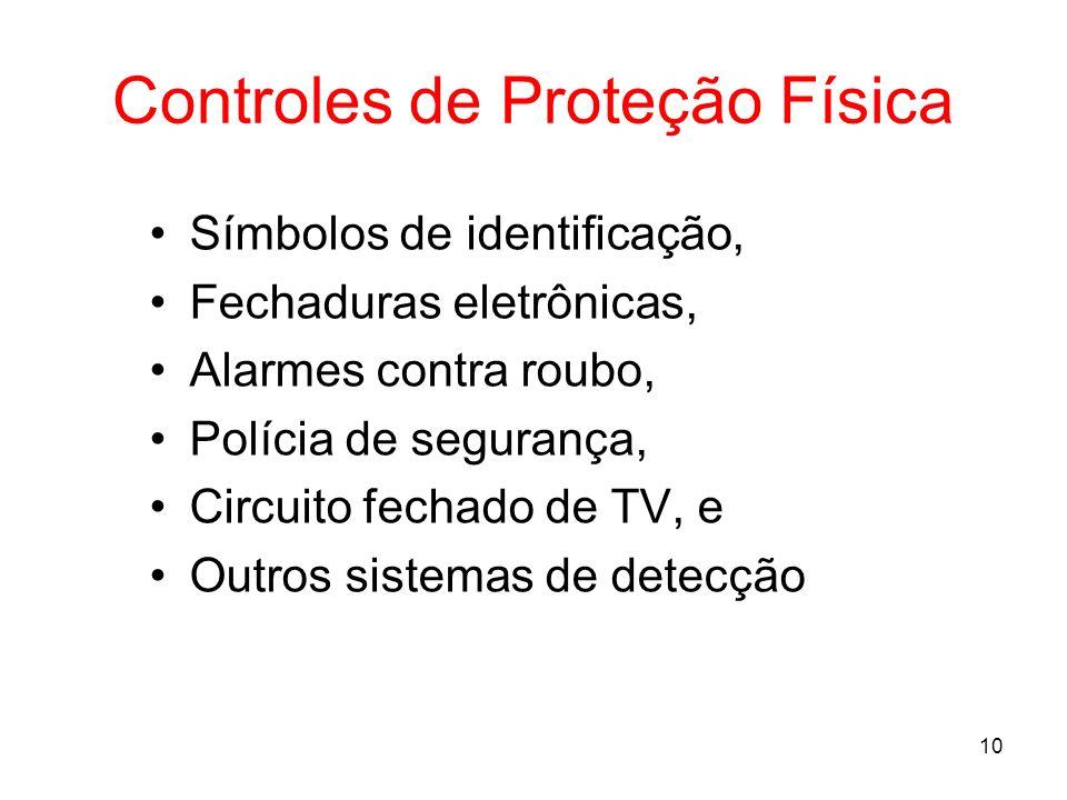 10 Controles de Proteção Física Símbolos de identificação, Fechaduras eletrônicas, Alarmes contra roubo, Polícia de segurança, Circuito fechado de TV,