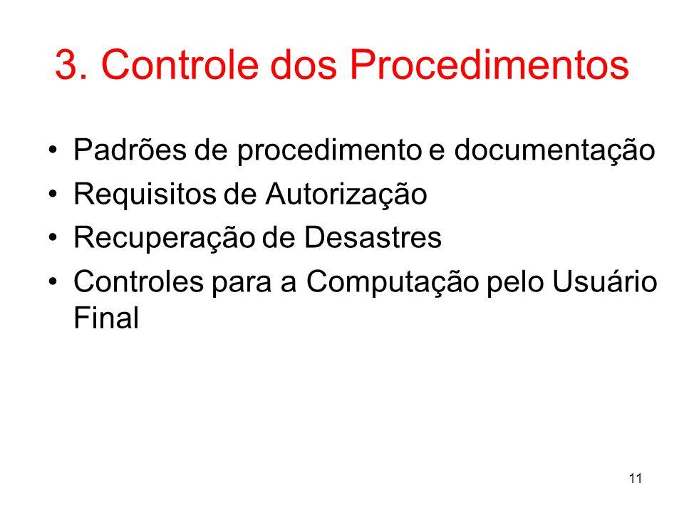 11 3. Controle dos Procedimentos Padrões de procedimento e documentação Requisitos de Autorização Recuperação de Desastres Controles para a Computação