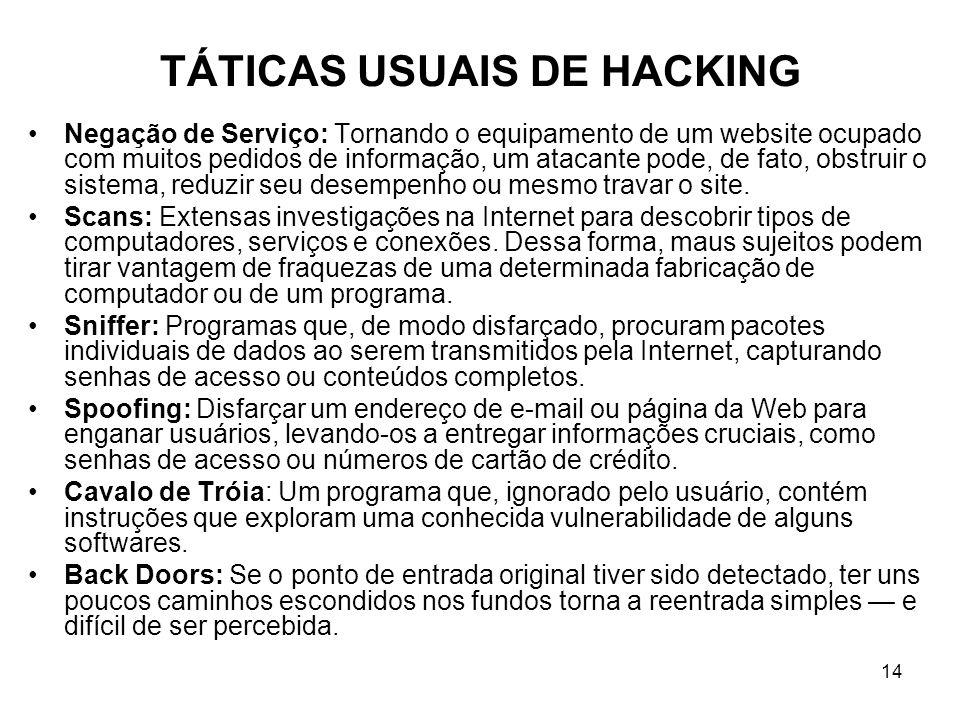 14 TÁTICAS USUAIS DE HACKING Negação de Serviço: Tornando o equipamento de um website ocupado com muitos pedidos de informação, um atacante pode, de f