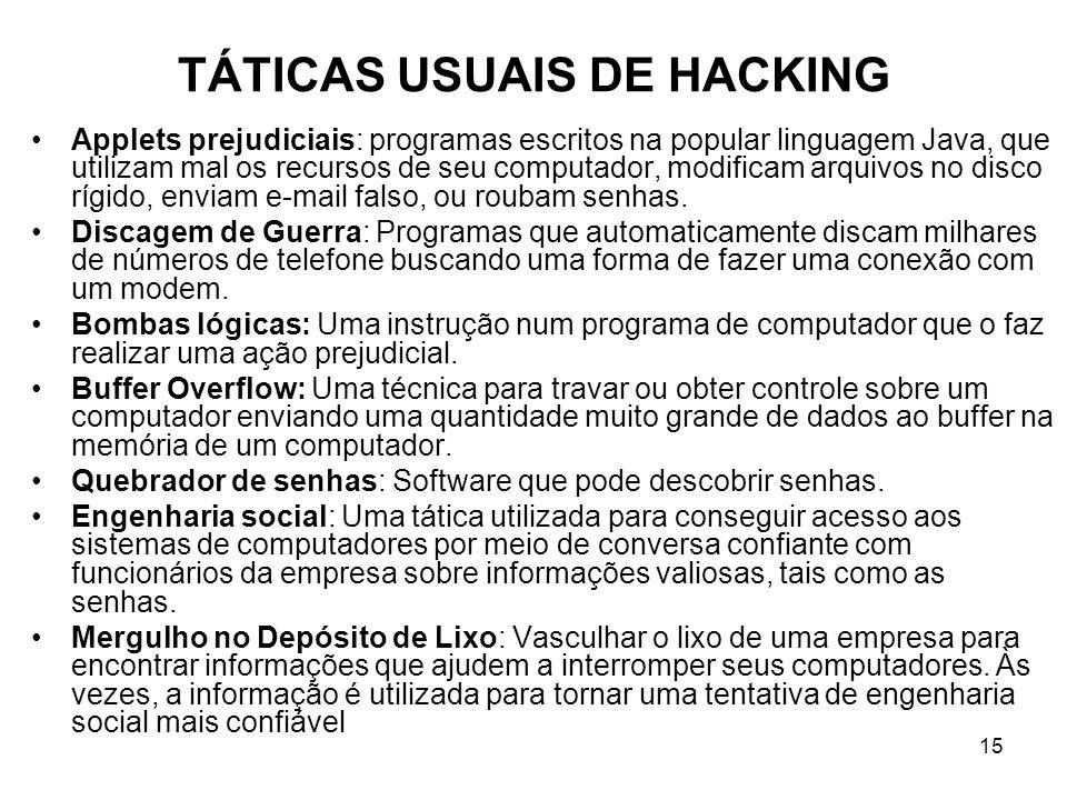 15 TÁTICAS USUAIS DE HACKING Applets prejudiciais: programas escritos na popular linguagem Java, que utilizam mal os recursos de seu computador, modif