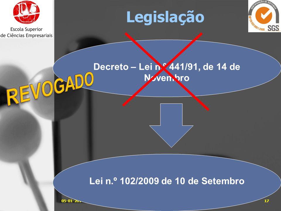 05-01-201417José Carlos Sá, Eng. Legislação Decreto – Lei n.º 441/91, de 14 de Novembro Lei n.º 102/2009 de 10 de Setembro