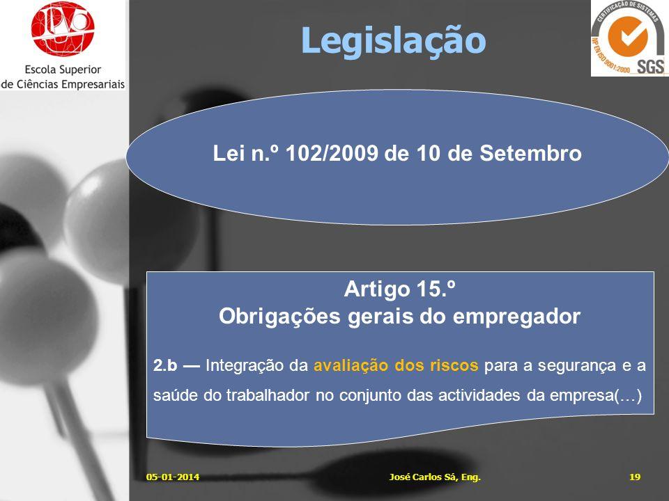 05-01-201419José Carlos Sá, Eng. Lei n.º 102/2009 de 10 de Setembro Artigo 15.º Obrigações gerais do empregador 2.b Integração da avaliação dos riscos