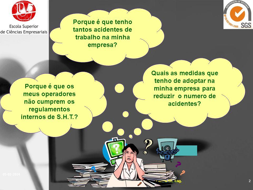 05-01-2014 2 Quais as medidas que tenho de adoptar na minha empresa para reduzir o numero de acidentes? Porque é que tenho tantos acidentes de trabalh
