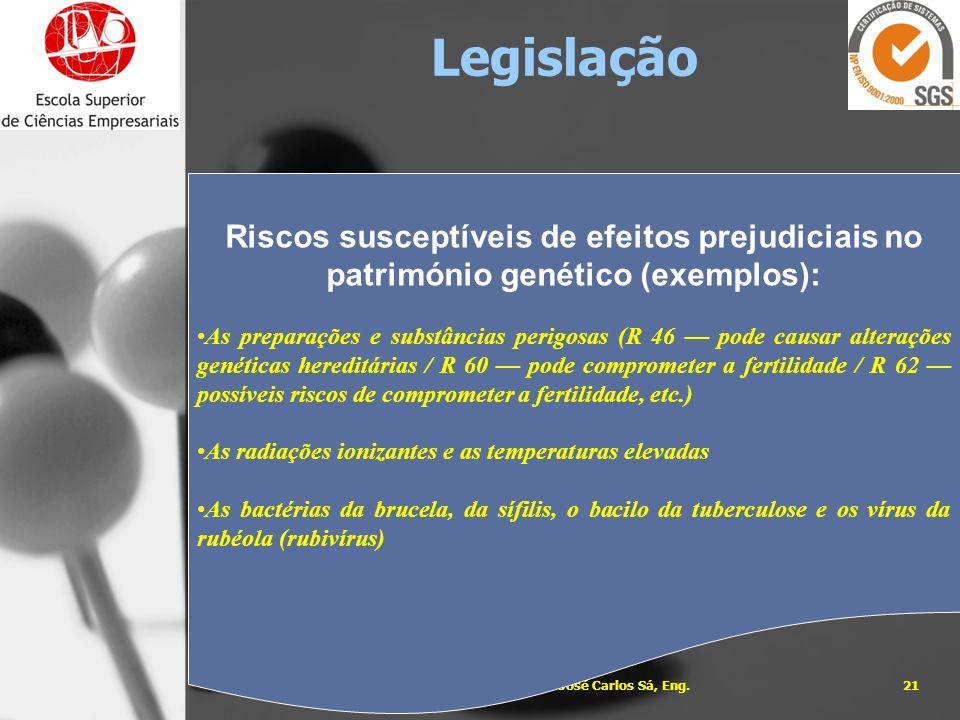 05-01-201421José Carlos Sá, Eng. Riscos susceptíveis de efeitos prejudiciais no património genético (exemplos): As preparações e substâncias perigosas