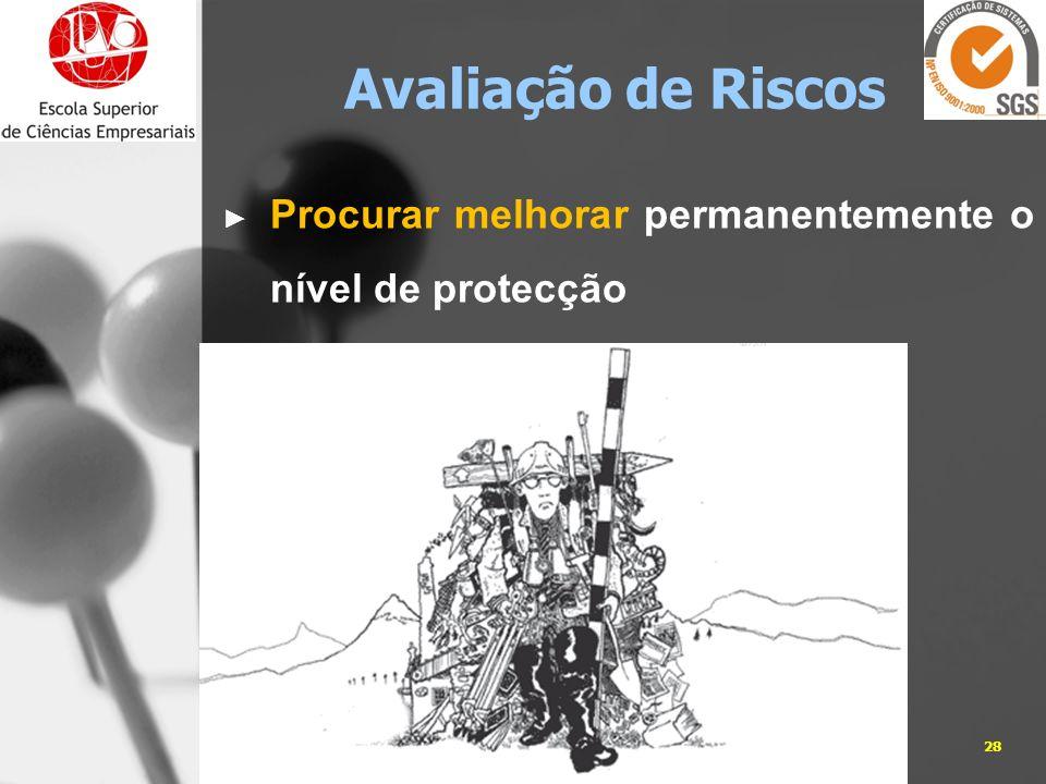 05-01-201428José Carlos Sá, Eng. Avaliação de Riscos Procurar melhorar permanentemente o nível de protecção