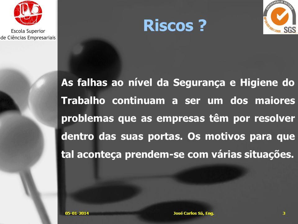 Alguns exemplos dessas situações… 05-01-20144José Carlos Sá, Eng. Riscos ?