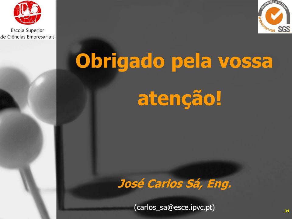 Obrigado pela vossa atenção! José Carlos Sá, Eng. (carlos_sa@esce.ipvc.pt) 34
