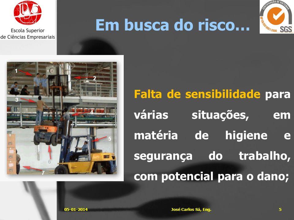 Acções preventivas/correctivas inadequadas face aos riscos existentes; 05-01-20146José Carlos Sá, Eng.