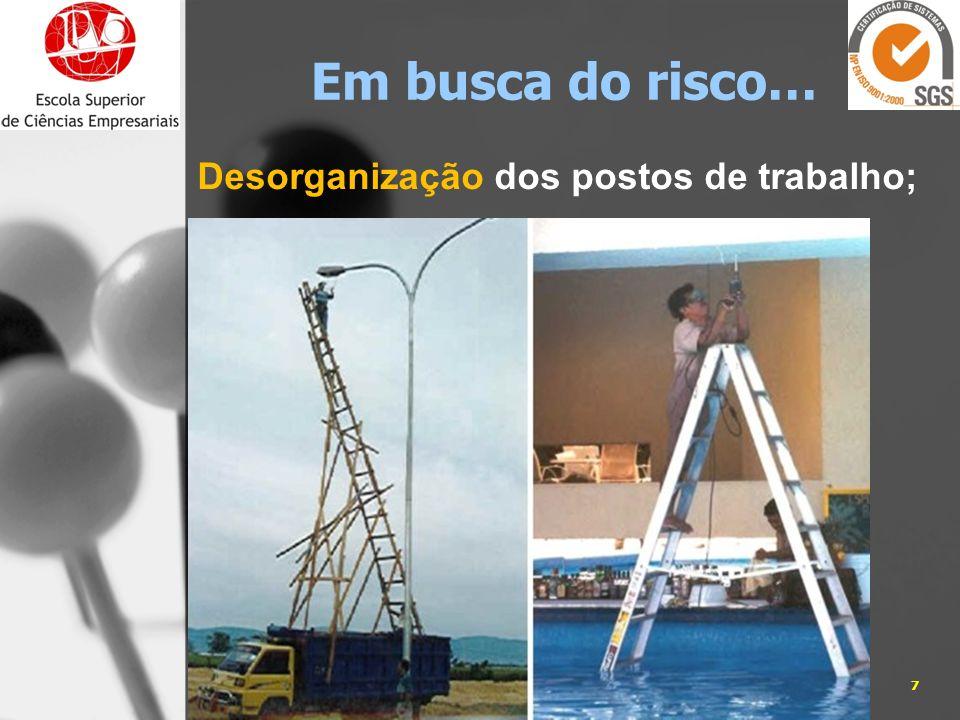 Desorganização dos postos de trabalho; 05-01-20147José Carlos Sá, Eng. Em busca do risco…